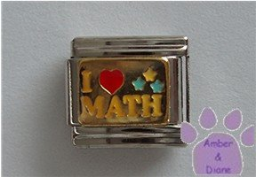 I Love (red heart) Math Italian Charm on gold tone