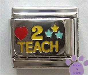 Love (red heart) 2 TEACH Italian Charm on silver tone