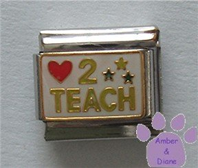 Love (red heart) 2 TEACH Italian Charm on white enamel