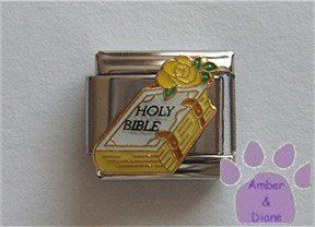 Holy Bible Italian Charm white with a yellow rose on top