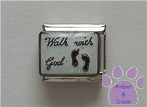 Walk with God Italian Charm with footprints on white glitter