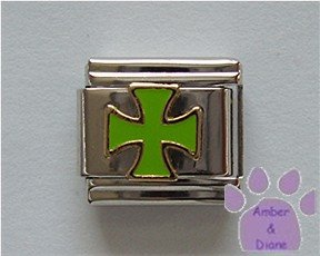 Green Cross Italian Charm Chopper Symbol