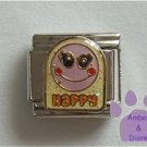 Happy Smiley Face Italian Charm on yellow glitter enamel