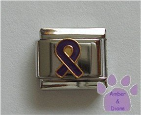 Purple Ribbon Italian Charm Domestic Violence or Animal Abuse