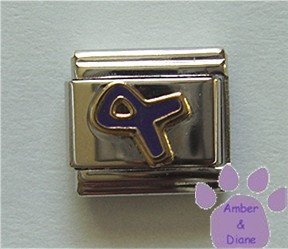 Purple Ribbon Italian Charm Fighting Domestic Violence Awareness
