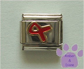 Red Ribbon Italian Charm for AIDS Awareness