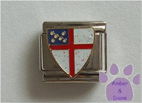 White Glitter Crest Italian Charm red cross Coat of Arms