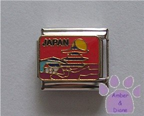 JAPAN Italian Charm on a red background with a Pagoda