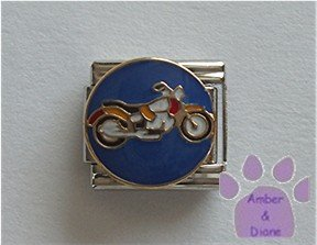 Motorcycle Italian Charm on blue disc