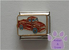 Red Pickup Truck Italian Charm on white
