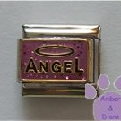 ANGEL with a Halo Italian Charm on pink-purple glitter