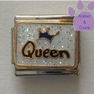 Blue Crown Queen on white glitter Italian Charm