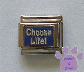 Choose Life Italian Charm white on blue enamel background