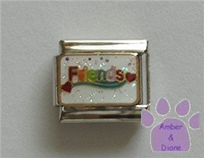 Colorful Friends Italian Charm with red hearts