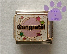 Congrats Italian Charm on white - pink balloon, stars, confetti