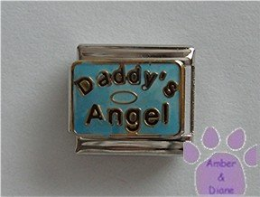 Daddy's Angel Italian Charm on blue with halo