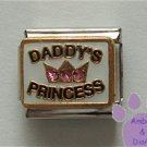 DADDY'S PRINCESS Italian Charm with pink crystals in a crown