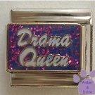 Drama Queen Italian Charm on purple glitter background