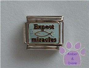 Expect Miracles Italian Charm on pale blue glitter enamel