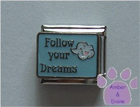 Follow your Dreams Italian Charm blue sky white glitter cloud