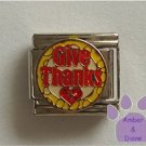 Give Thanks Italian Charm with a cross on a Red Glitter Heart