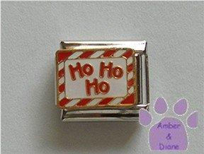 Ho Ho Ho Italian Charm with a candy cane striped border