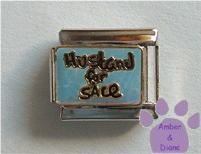 Husband for Sale Italian Charm on Blue