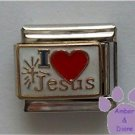 I love (red heart) Jesus Italian Charm with Shining Cross
