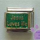 Jesus Loves Me Italian Charm on green glitter