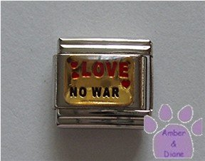 LOVE NO WAR Italian Charm with red hearts
