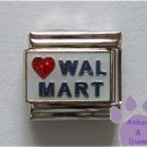 Love WALMART Italian Charm red heart on white enamel