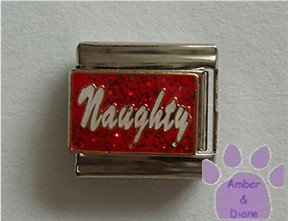 Naughty Italian Charm white lettering on Red Glitter Enamel