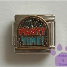 PARTY TIME Italian Charm on a blue glitter disc