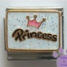 Pink Crown Princess on white glitter Italian Charm