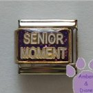 SENIOR MOMENT Italian Charm on a purple glitter enamel backgroun