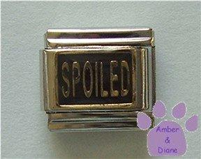 SPOILED Italian Charm - gold tone on black enamel