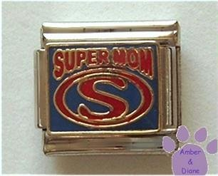 SUPERMOM Italian Charm with Super Hero Symbol
