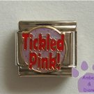 Tickled Pink Italian Charm on lavender glitter disc