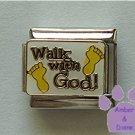 Walk with God Italian Charm with footprints on white enamel