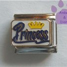 Yellow Crown Princess Italian Charm blue script on white