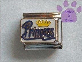 Yellow Crown Princess Italian Charm blue script on white