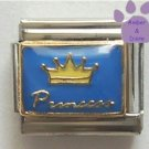 Yellow Crown Princess on Blue Background Italian Charm