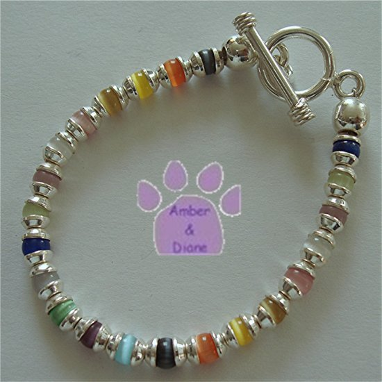 Multi-Color Cat's Eye Bead Sterling Silver Toggle Bracelet