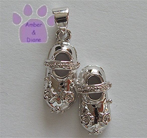Baby Shoes Sterling Silver Pendant with clear rhinestones charm