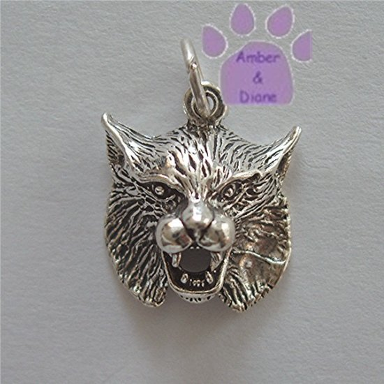 Bobcat or Wildcat Sterling Silver Pendant Charm