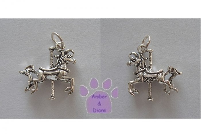 Carousel Horse Galloping Sterling Silver Pendant Charm