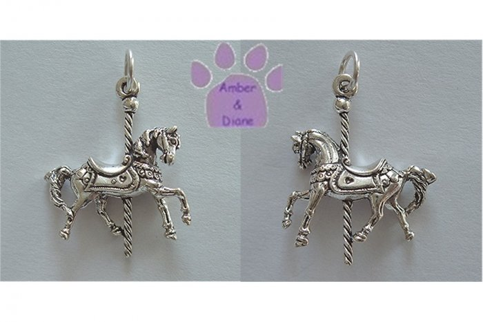 Carousel Horse Prancing Sterling Silver Pendant Charm
