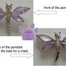 Dragonfly Sterling Silver Pendant with pale lavender cubic zirconium charm