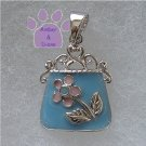 Handbag Sterling Silver Pendant blue purse pink flower charm