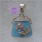 Handbag Sterling Silver Pendant blue purse pink flower charm